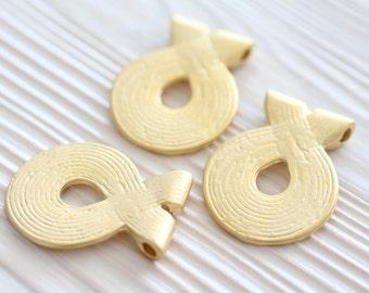 Matte gold tribal pendant, spiral pendant, large gold pendant, round pendants, matte gold, boho pendant, rustic pendants, unique findings