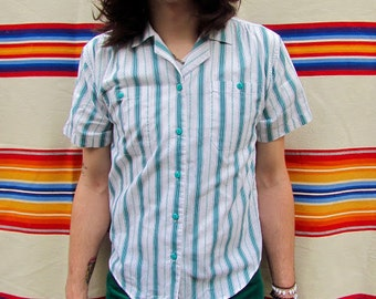 Men's 60s/70s Vintage Beach Boy's Teal, Purple, and White Vertical Stripe Short Sleeve Button Down Shirt with Teal Buttons