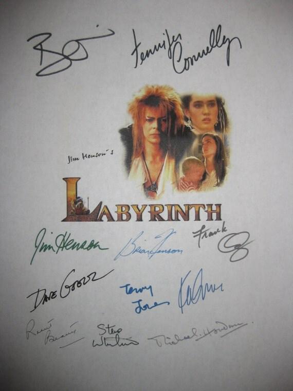 Labyrinth Signed Movie Screenplay Script Autograph x11 David Bowie Jennifer Connelly Brian Jim Hensen Frank Oz Dave Goelz Kevin Clash Beatty