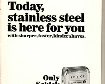 Vintage 1964 magazine ad for the Schick electric razor in Stainless steel