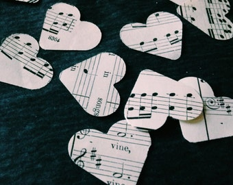 500 paper heart sheet music vintage wedding confetti rustic wedding confetti paper confetti table decorations eco wedding table scatters
