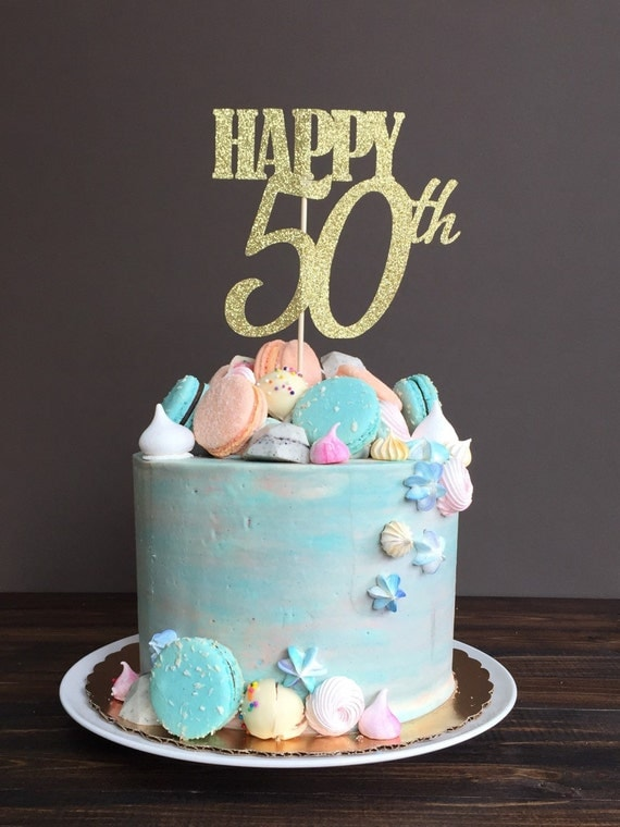 Cake topper - fifty cake topper, 50th birthday cake topper, fiftieth ...
