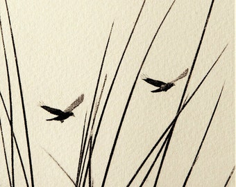 Original etching: 'Crows and rushes', hand-printed from a solar plate. Limited edition.