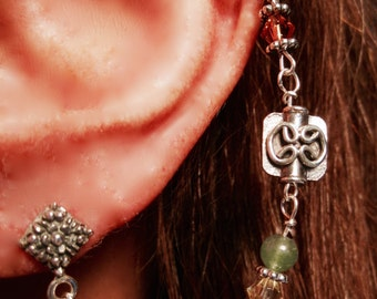 "EARRINGS, ""Autumn"" EAR~LACE, Ear Lace, Sterling Silver, Pearls, Crystals, Aventurine, Handmade, Quality"