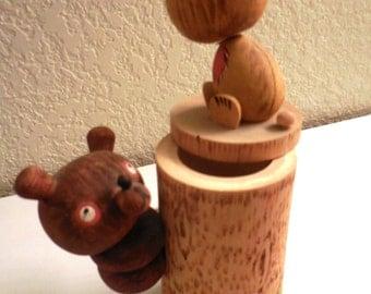Vintage Hand-Carved & Painted Russian Wooden Bear Trinket Holder