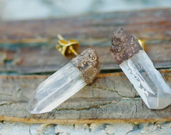Crystal Studs: stud earrings, rough crystal jewelry, raw crystal studs, raw stone stud earrings, little sycamore, boho electroformed gifts
