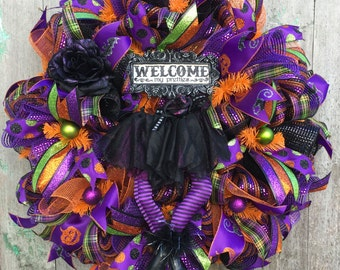 Halloween Witch Wreath, Wicked Witch Wreath, Witch Wreath, Halloween Deco Mesh Wreath, Happy Halloween Wreath, Halloween Front Door Wreath