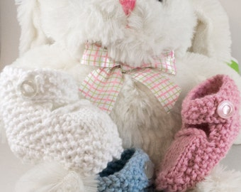 White Knit Baby Boots - Baby Booties - Knitted boots - Knit baby shoes