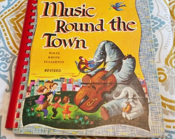 Music Round the Town ** Teacher's Edition ** 1950s chorale book w/score