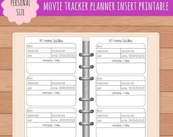 PERSONAL Movie Tracker Planner Insert Printable   Fits Kikki K Medium & Filofax Personal Instant Download