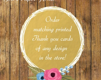 Order Matching Printed Thank You Cards for any design in the store- Printed Thank You Cards