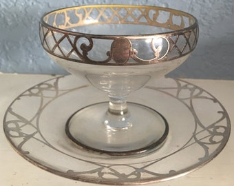 Art Nouveau Sterling Silver Overlay Sherbet Cup and Saucer, c. 1900.  Free Shipping in US