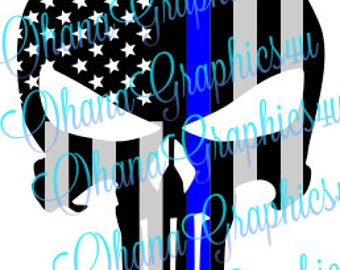 Police American Flag Punisher SVG