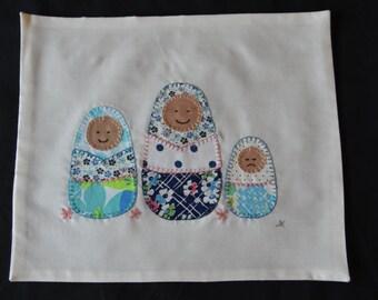 Matryoshka dolls art, wall hanging, hand embroidered, appliqué, vintage fabric