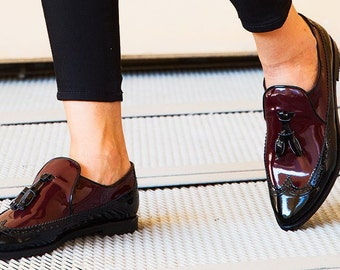 Black Maroon Patent Leather Loafers with Tassels, Womens Slip Ons