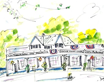 OSTERVILLE NEWS SHOP by Jane Staffier**Modern Print from Original Watercolor**Cape Cod Village**Cape Cod Art**Wall decor**Gift*July 4th Art