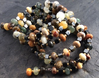 natural jade and hematite bracelet - free shipping