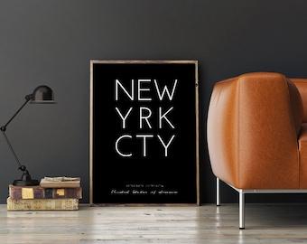 New York Poster, Printable New York, New York Coordinates, New York City Print, NYC Art, NYC Coordinates, City Poster