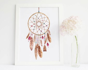 Dreamcatcher Print, dreamcatcher painting, dreamcatcher wall art, Dream catcher Printable, dreamcatcher art Printable, dreamcatcher Poster