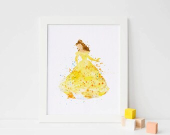Belle art, Beauty and the Beast - Belle Watercolor, belle silhouette belle Print, belle Watercolor belle Disney Princess Poster