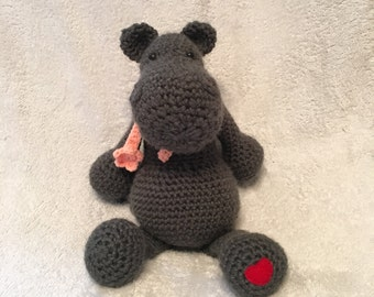 Crochet Hippo, Grey, Handmade, Made to Order, Amigurumi, Plushie, Soft, Stuffed, Animal
