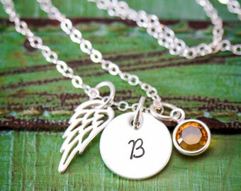 SALE • Loss Gift Personalized Memorial Necklace • Sterling Silver Angel Wing Charm • Angel Baby • Miscarriage Gift •Memorial Gift•Condolence