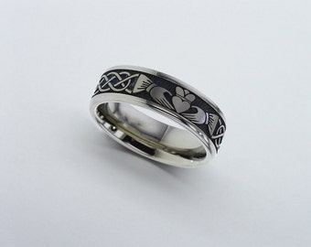 Claddagh Celtic Wedding Band Titanium Mens