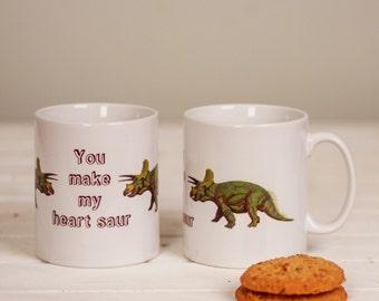Romantic Dinosaur Mug, Dinosaur Pun Mug, Dinosaur Gift, Romantic Dinosaur design