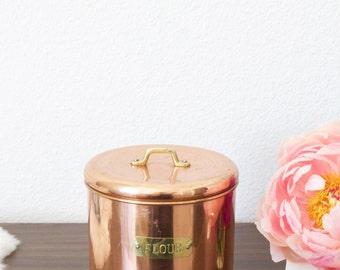 Vintage Copper Flour Canister with Lid | Boho Decor | Kitchenware