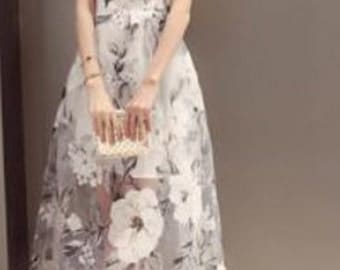 vintage inspired chiffon overlay dress with oirental print flower.