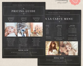 Photography Pricing List, Chalkboard Price List Template, Photoshop Template, Wedding Pricing Template, Wedding Price List, Pricing Guide