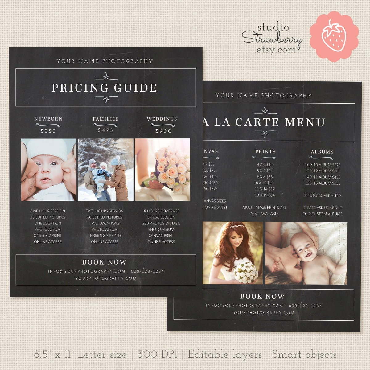 Pricing: Photography Pricing List Chalkboard Price List Template