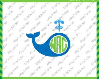 Whale Water Jet Monogram Frame SVG DXF PNG eps animal nautical Cut File for Cricut Design, Silhouette studio, Sure Cuts A Lot, Makes the Cut