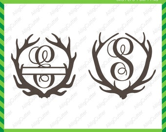 Deer Antlers Monogram frame SVG DXF PNG eps animal Cut Files for Cricut Design, Silhouette studio, Sure Cuts A Lot, Makes the Cut and more