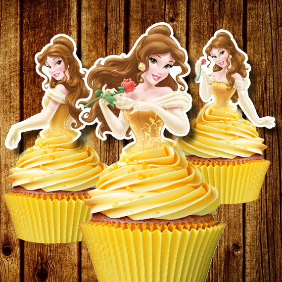PRINTABLE Princess Belle Cupcake Toppers Beauty The Beast