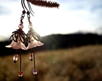 Woodland Earrings - Flower Earrings - Pink Earrings - Floral Earrings - Vintage Style Nature Jewelry - Boho Earrings - Bohemian Wedding Gift