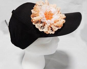 Orange & White Lace Flower Hat