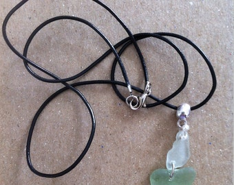 Pendant with seaglass.