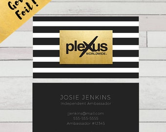 PRINTED - Striped Gold Foil Plexus Business Card