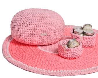 Handmade crochet carpet/rug NEON ROSE