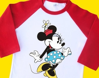 Vintage Minnie Mouse Shirt. Vintage Minnie Mouse Raglan,  Vintage Minnie Mouse T Shirt. Vintage Minnie Mouse Tee. [Mickey Mouse] (35015)