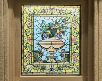 Dollhouse Miniature - Tiffany Style Vase Stained Glass - Window Decal