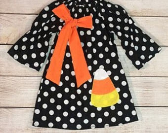 Personalized Halloween Candy Corn Dress
