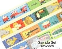 MT Kids Book Washi Tape Sample Set [Vehicle Animal Musical Instrument City Washi] // Town Daily Life Masking Tape Sampler Washi Samples.. //