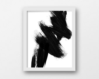 Black White Wall Art, Art Print, Wall Art, Abstract Art, Brush Stroke