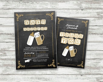 Beer Baby Shower Invitation with FREE Thank You Card, Baby Brewing Shower Invitation,  Chalkboard Invitation, Coed Shower, DIY, PRINTABLE