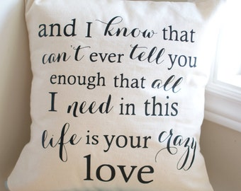 Pillow Cover, 16x16, Thomas Rhett, Die a Happy Man Lyrics, Throw Pillow, Cushion Cover, Engagement Gift, Wedding Gift