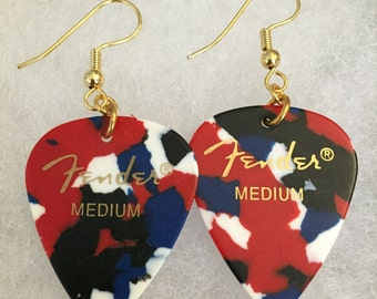Guitar Pick Earrings-'Merica Splotched/Fender Picks