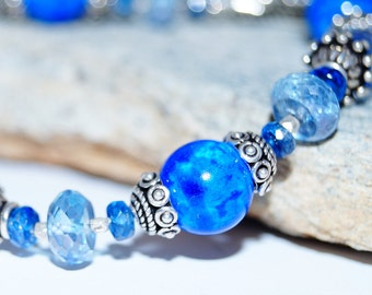 Lapis, Kyanite, Blue Mystic Quartz and Sterling Silver Bracelet