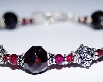 Garnet and Sterling Silver Beaded Bracelet